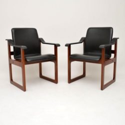 Pair of Vintage Danish Rosewood & Leather Armchairs