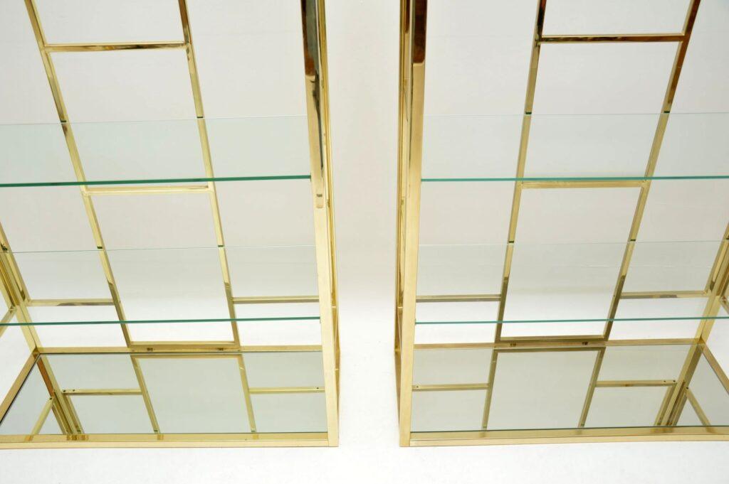 pair of vintage retro italian brass cabinets