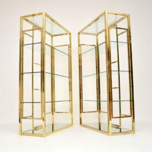 1970's Pair of Vintage Italian Brass Cabinets