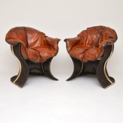 1970's Pair of Vintage Leather & Wicker 'Venus' Armchairs by Pieff