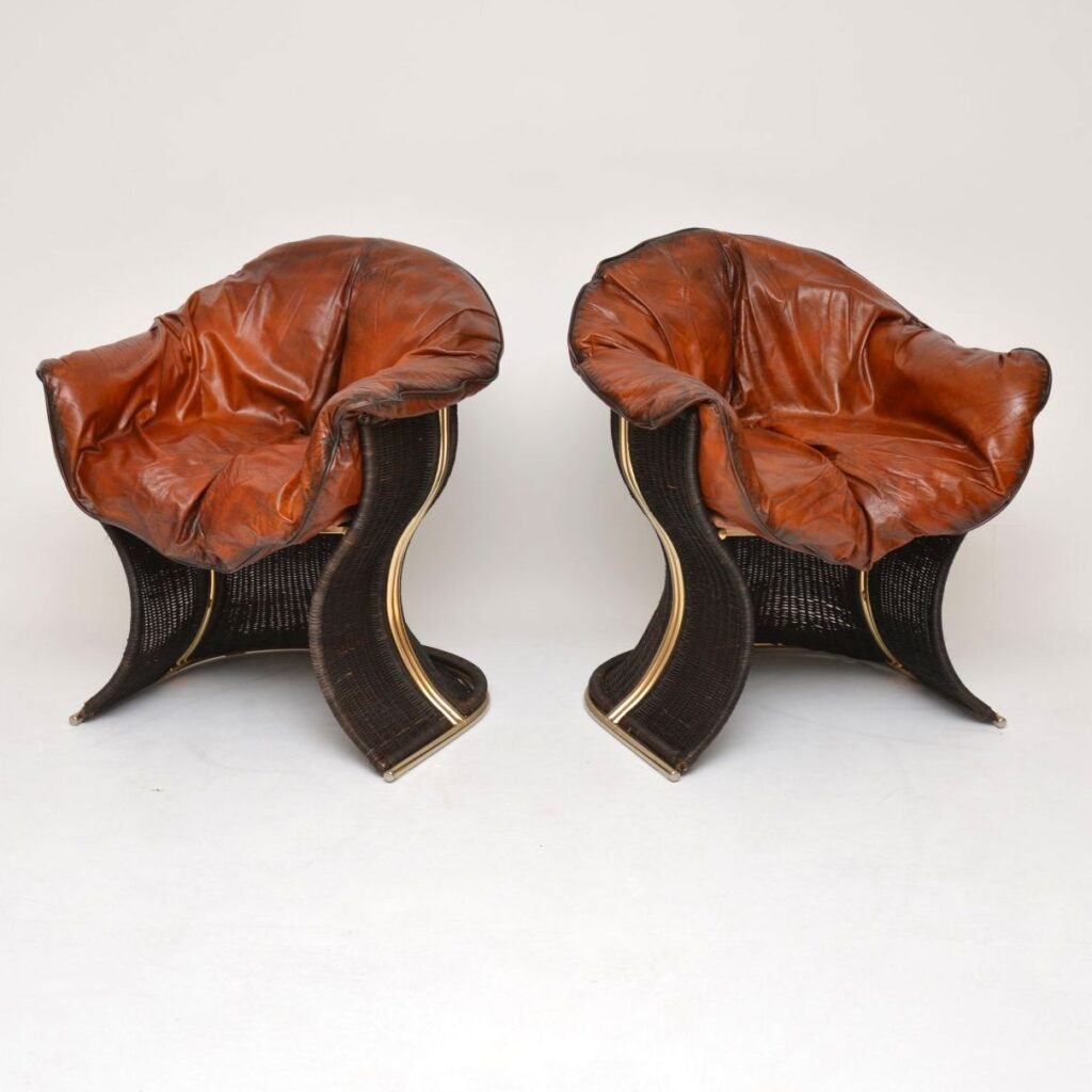 pair of pieff venus leather armchairs chairs