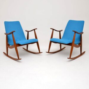 pair of danish dutch vintage retro rocking chairs armchairs louis van teeffelen