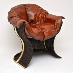 1970's Vintage Leather & Wicker 'Venus' Armchair by Pieff