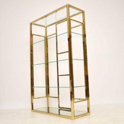 retro vintage brass display cabinet bookcase