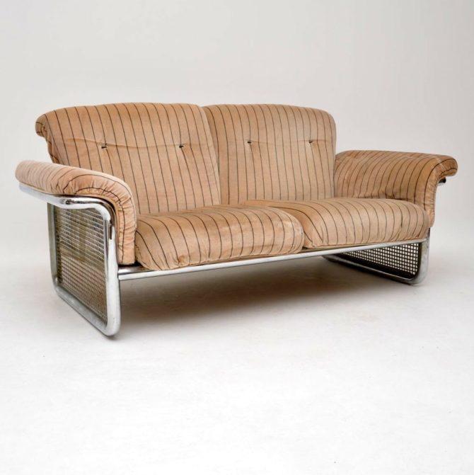 rodney kinsman omk vintage retro chrome sofa