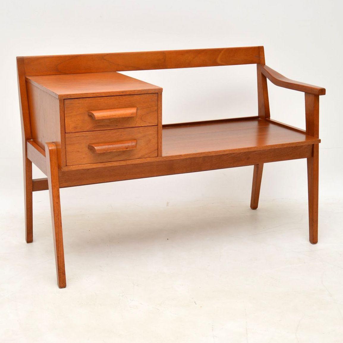 1960 S Teak Vintage Telephone Bench Side Table