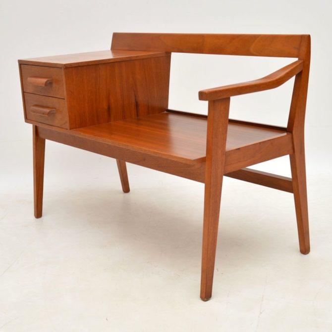 teak retro vintage chippy heath telephone bench