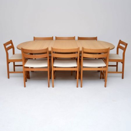 Danish Retro Oak Dining Table & Eight Dining Chairs