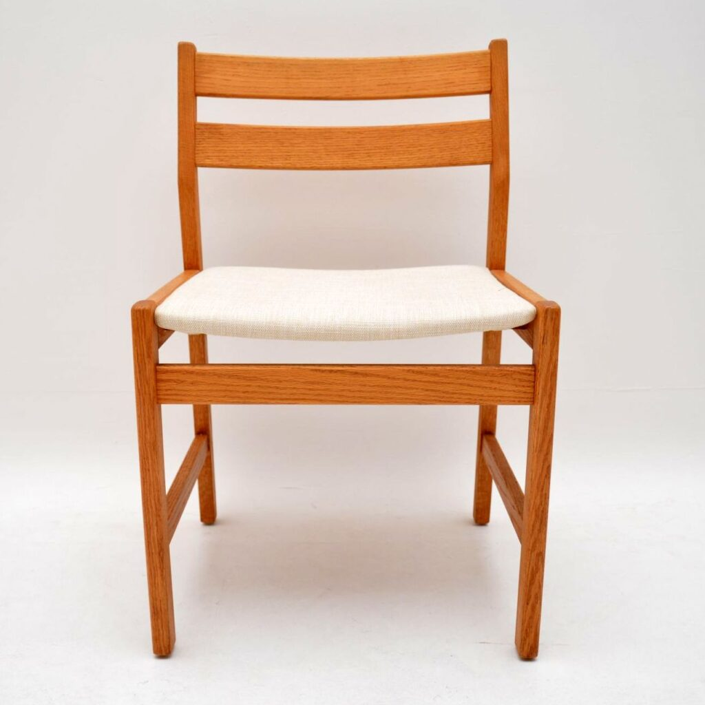 danish retro vintage oak dining table dining chairs suite