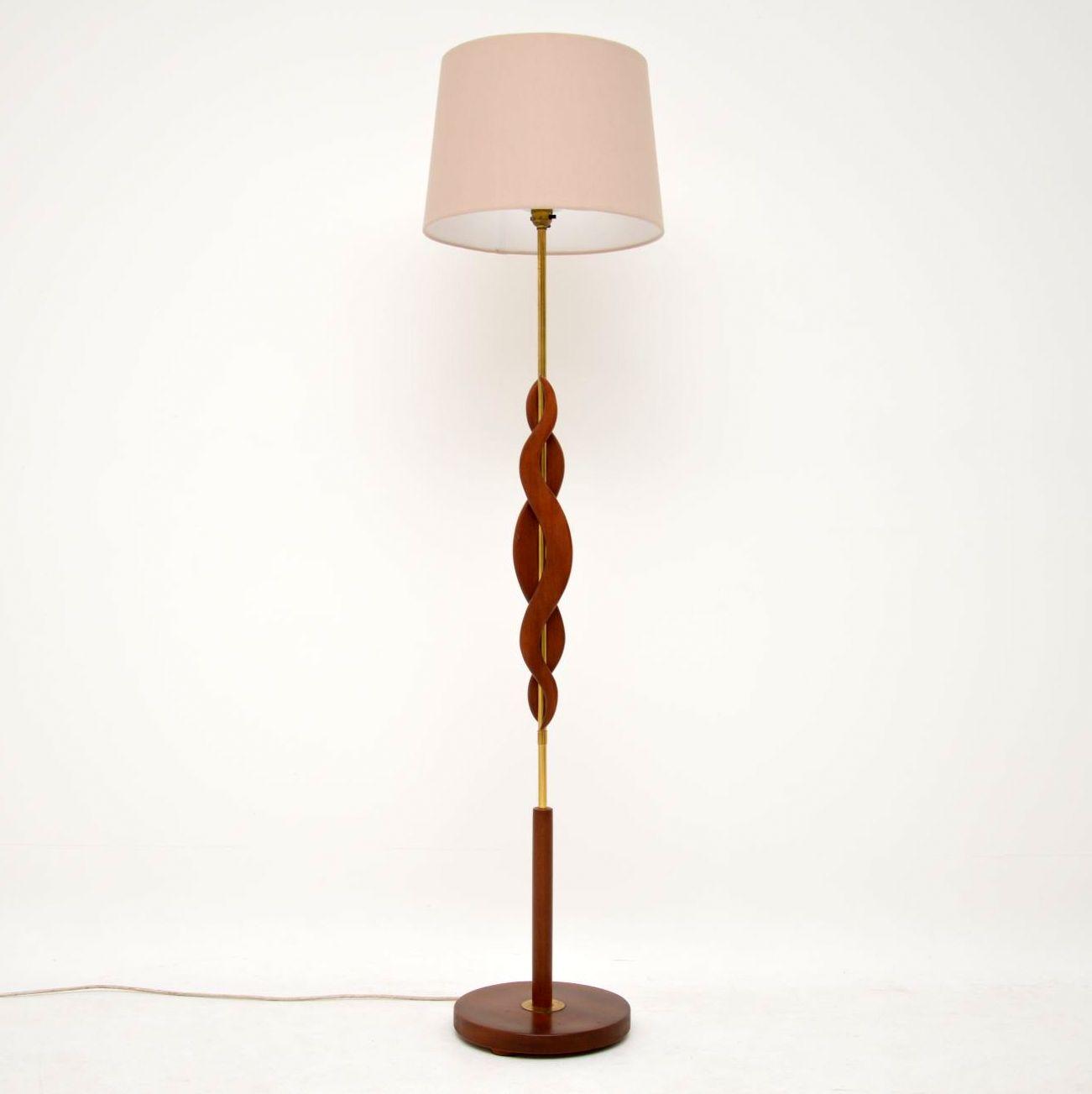 1960's Vintage Teak & Brass Floor Lamp