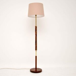 danish retro vintage teak brass lamp