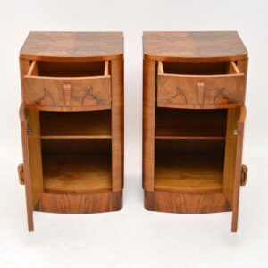 art deco burr walnut antique bedside cabinets pair