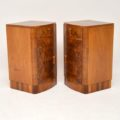 1930's Pair of Art Deco Burr Walnut Bedside Cabinets