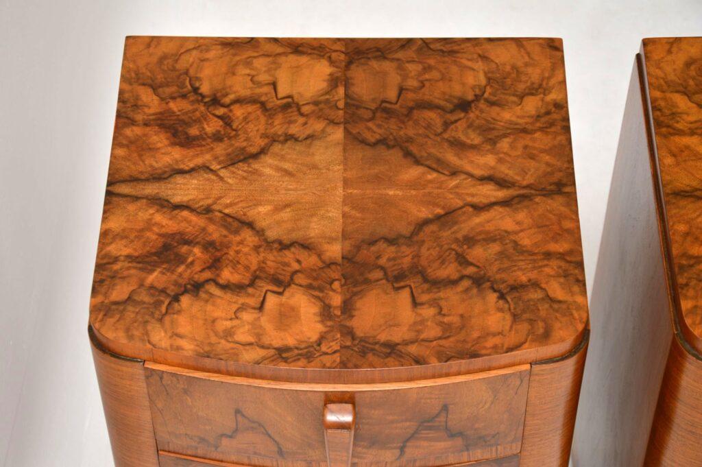 art deco burr walnut antique bedside cabinets pair