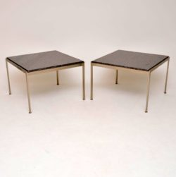 Pair of Steel & Granite Side Tables in the Manner of Poul Kjaerholm