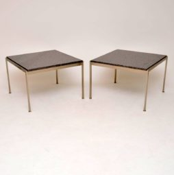 pair of danish steel marble side tables poul kjaerholm
