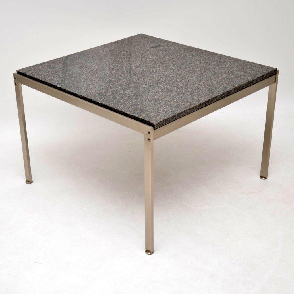 pair of danish steel marble side tables poul kjaerholm