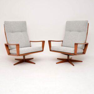 pair of danish retro vintage teak swivel armchairs arne wahl iversen komfort