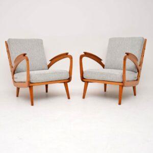 pair of retro vintage danish armchairs