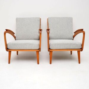 1950's Pair of Vintage Cherry Wood Armchairs