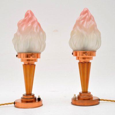 pair of original vintage art deco table lamps
