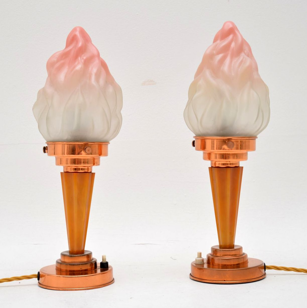 pair of original vintage art deco table lamps