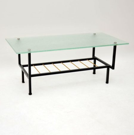 1960's Vintage French Glass & Steel Coffee Table