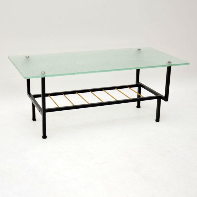 vintage retro french glass coffee table