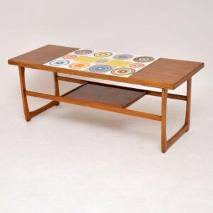 teak retro vintage tiled coffee table