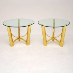 1970's Pair of Vintage Brass & Glass Side Tables