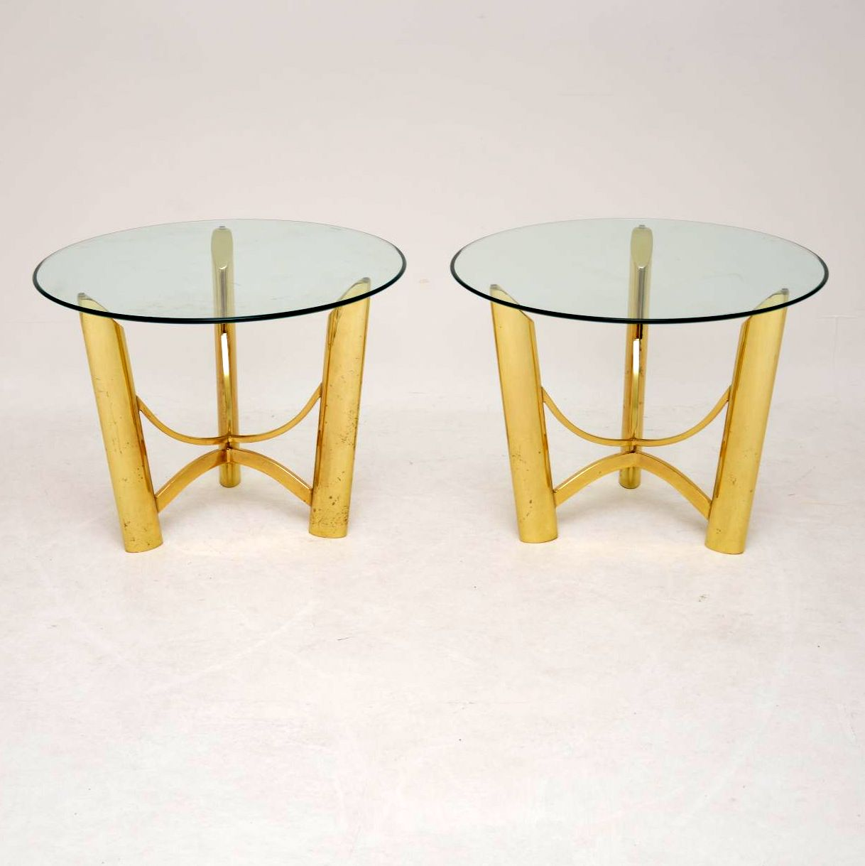 pair of retro vintage brass glass side tables