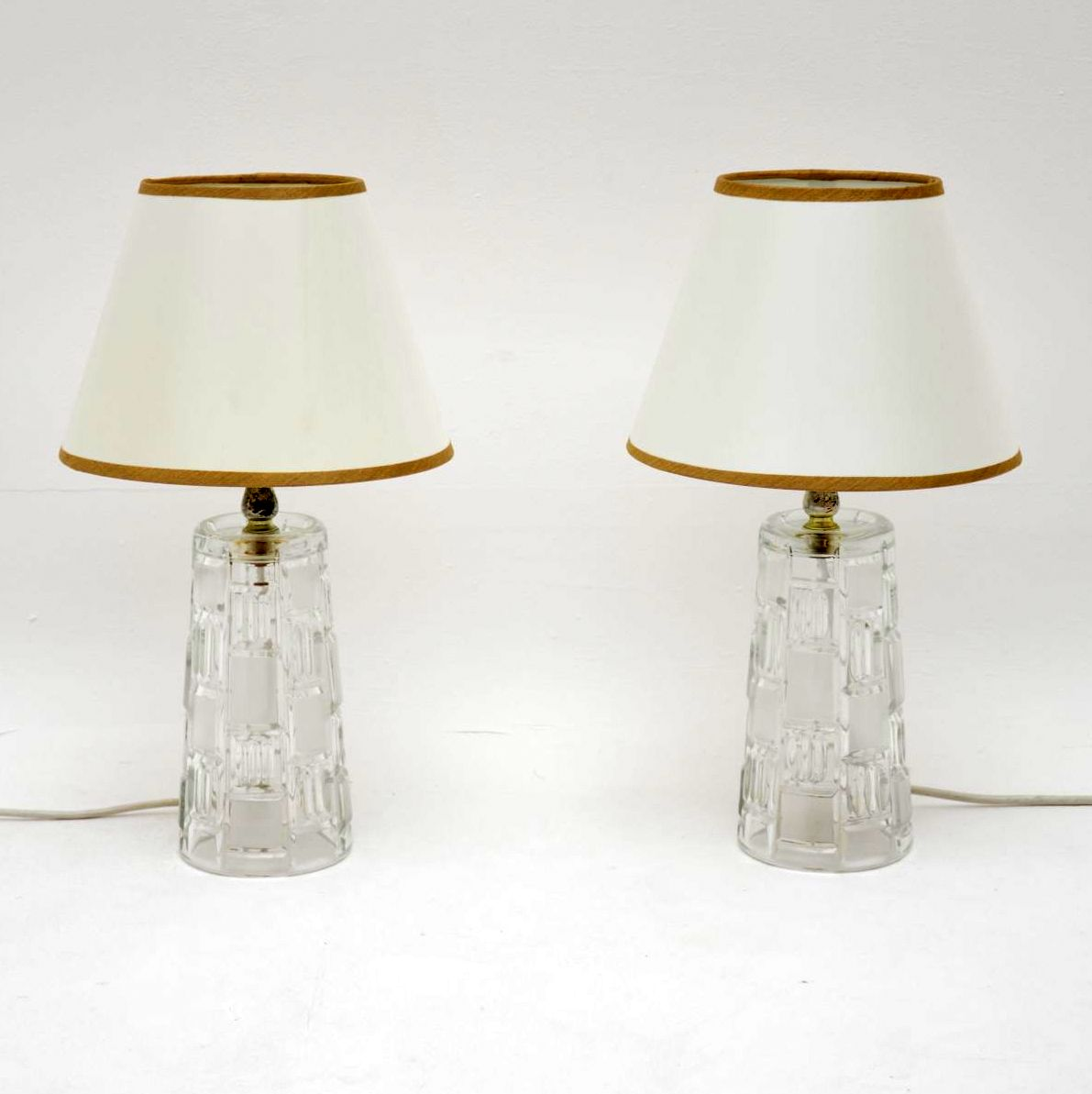 pair of retro vintage glass table lamps
