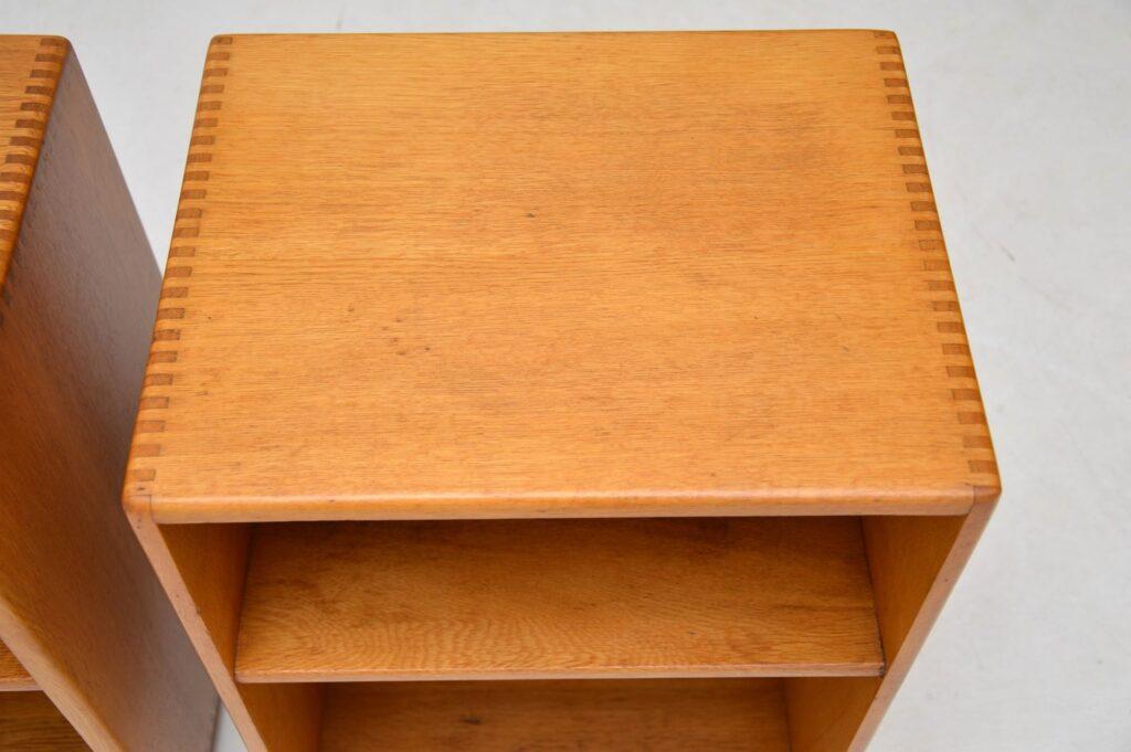 pair of vintage retro oak bedside cabinets