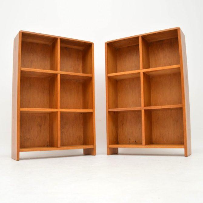 pair of retro oak open bookcases bookcase