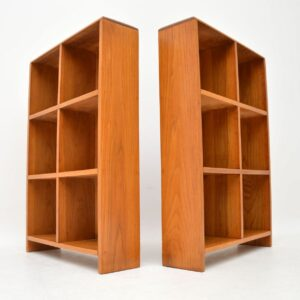 pair of retro oak open bookcases bookcase