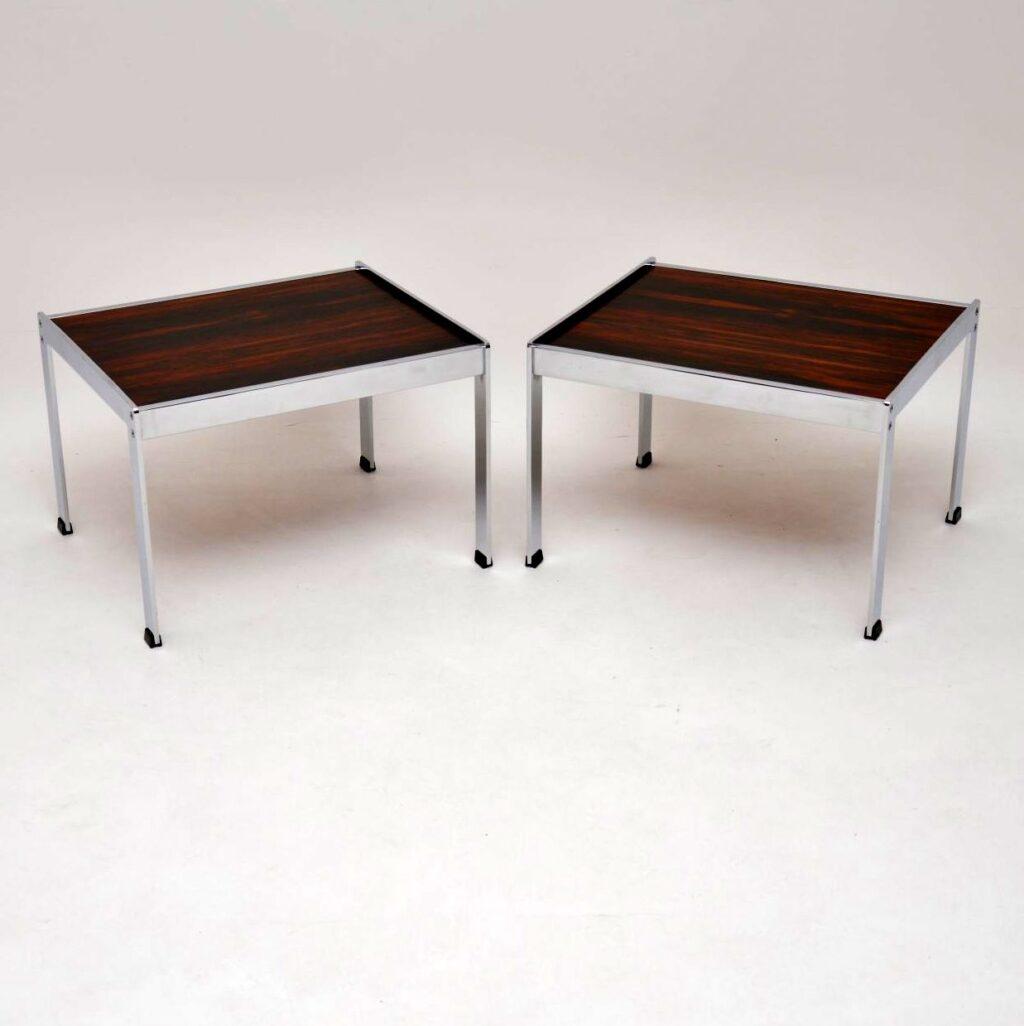 pair of retro vintage rosewood chrome side tables merrow associates