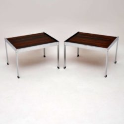 1960's Pair of Vintage Rosewood & Chrome Side Tables by Merrow Associates