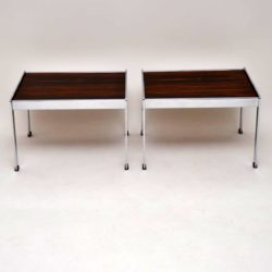 pair of retro vintage rosewood chrome side tables merrow associates