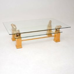 vintage retro french brass glass coffee table maison charles