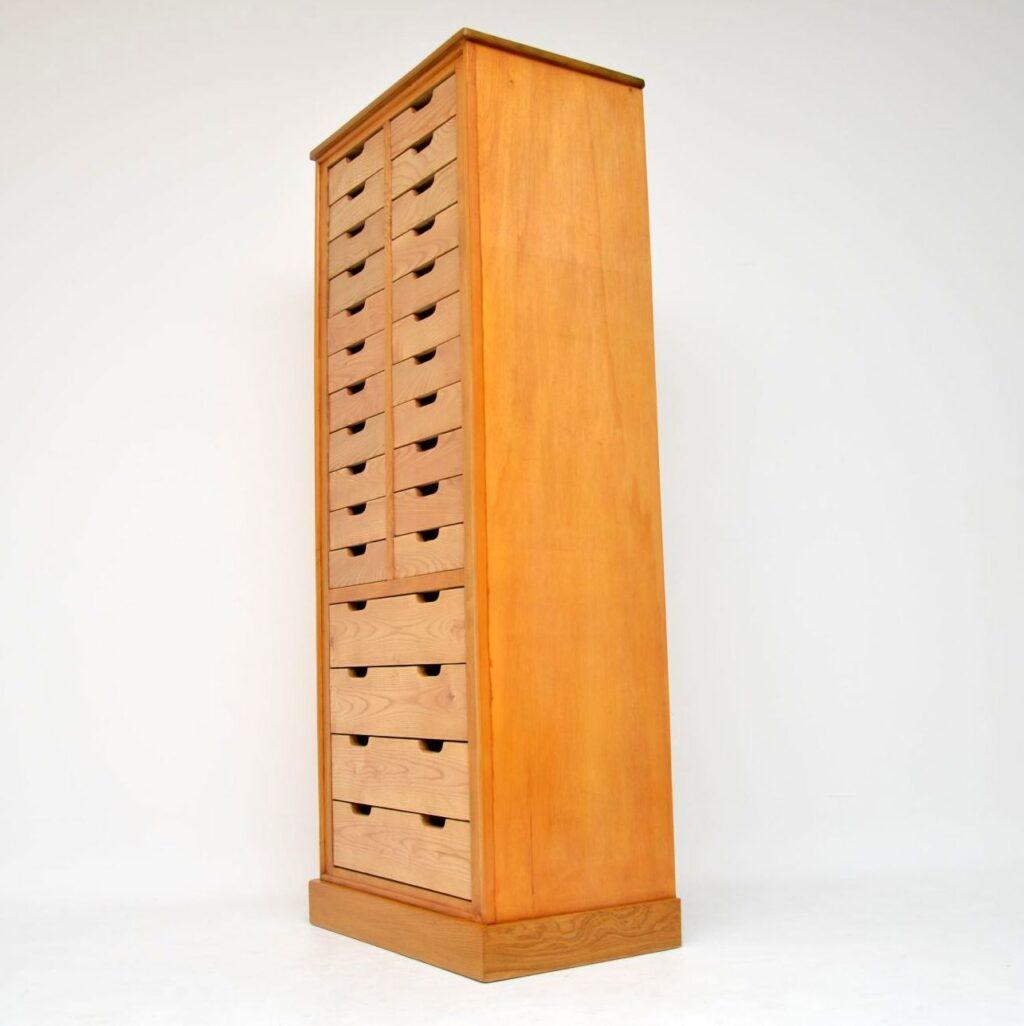 retro vintage satin elm haberdashery chest of drawers