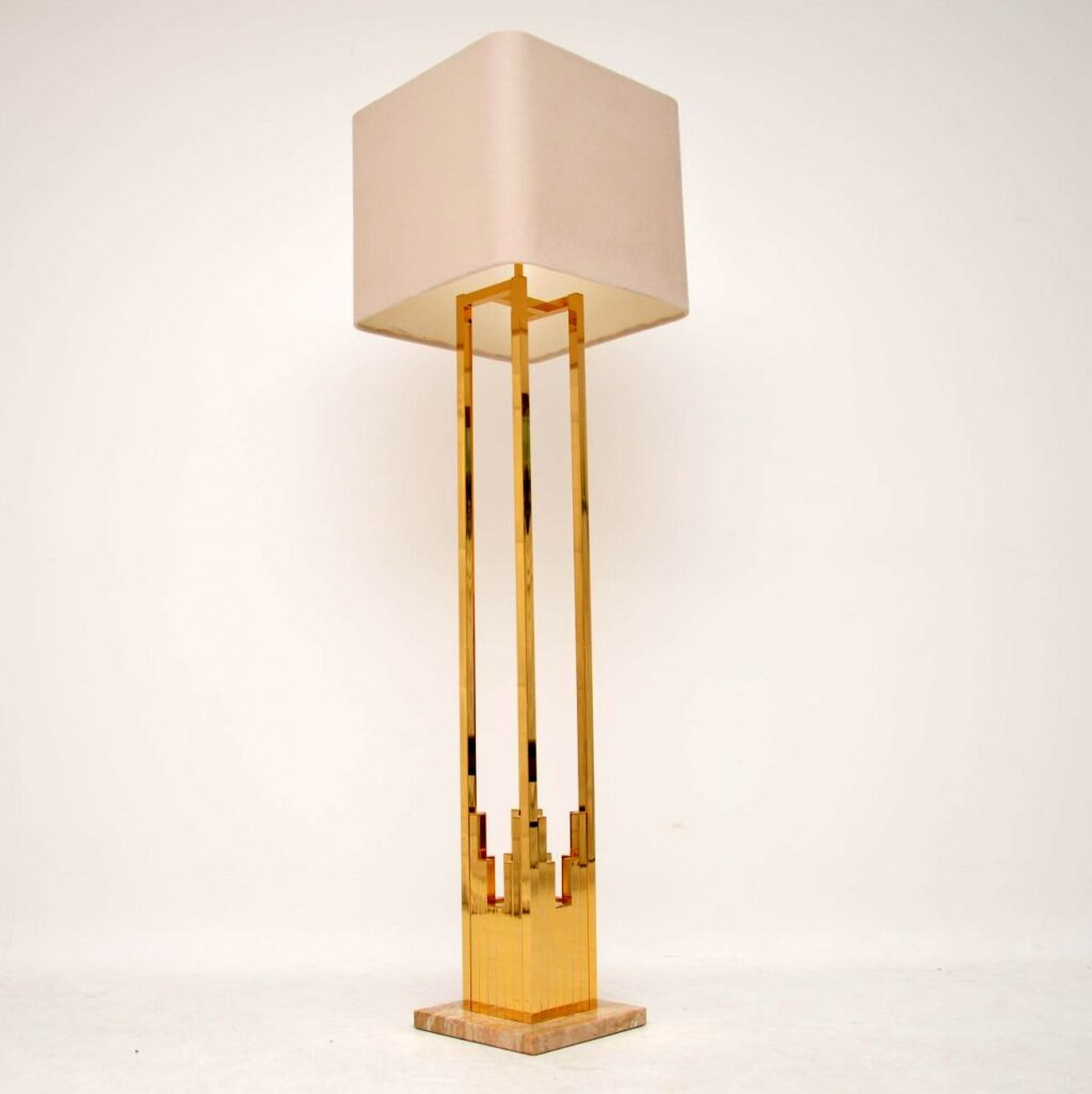 vintage retro brass marble lamp f. fabbian