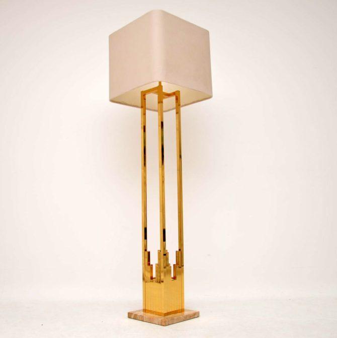 vintage retro brass marble lamp f. fabbian