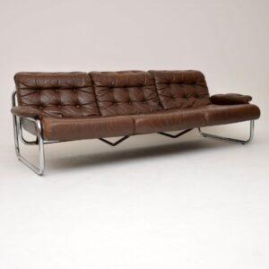rodney kinsman omk vintage retro leather chrome sofa