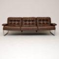 1970's Vintage Leather & Chrome Sofa by Rodney Kinsman for OMK