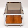 1970's Vintage Rosewood & Chrome Coffee Table by Howard Miller Associates