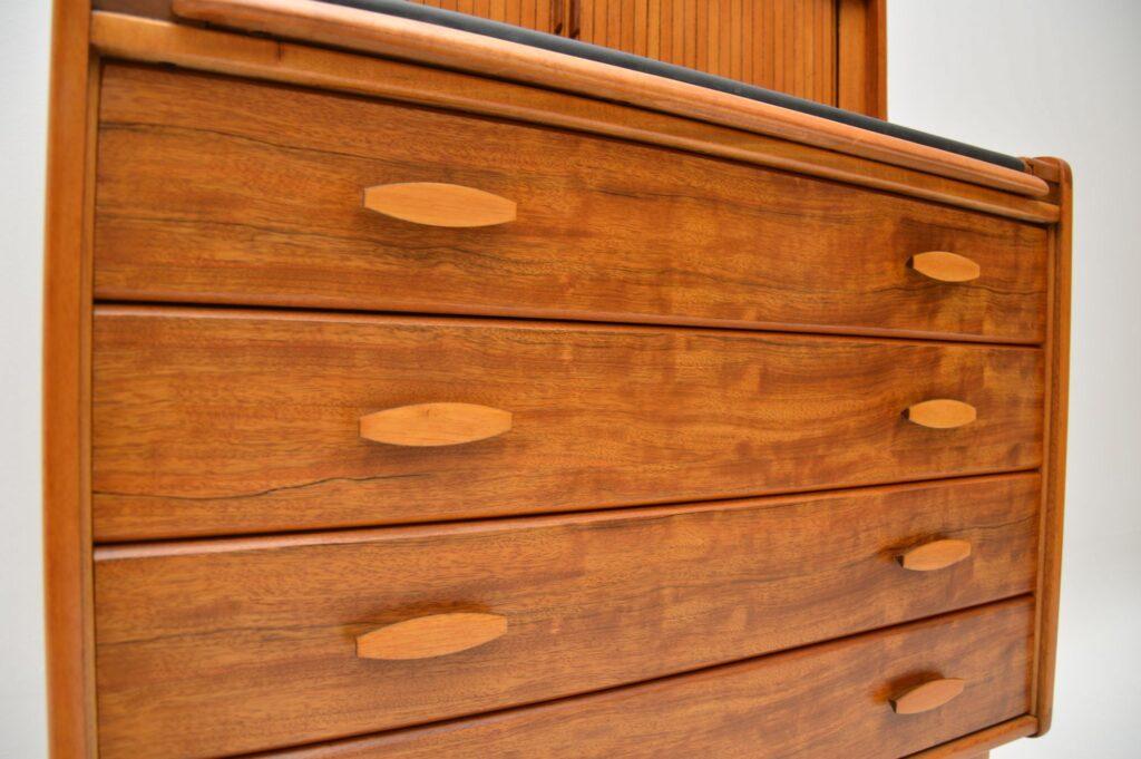 retro vintage walnut writing bureau