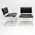 1970's Set of 8 Leather & Chrome Dining Chairs by De Sede