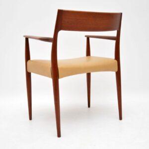 1960's Danish Teak & Leather Carver Armchair by Arne Hovmand-Olsen