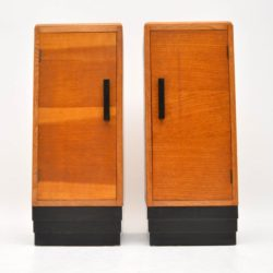 pair of art deco vintage oak bedside cabinets