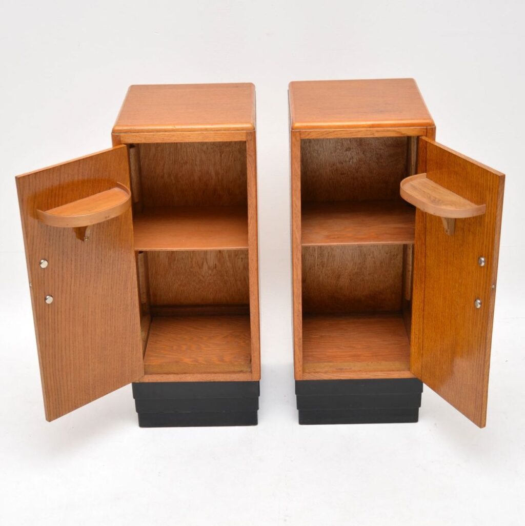 pair of art deco vintage oak bedside cabinets
